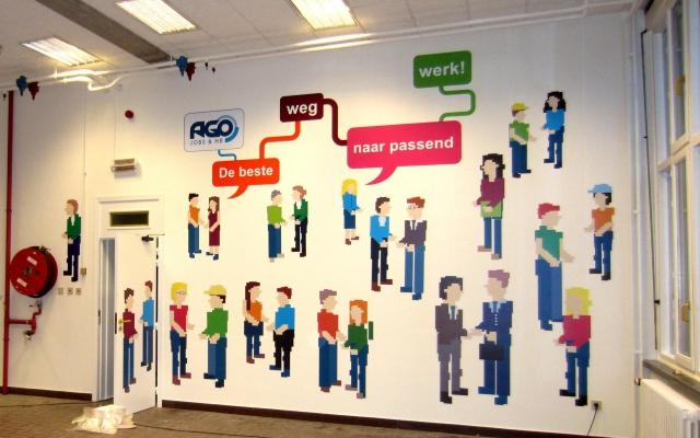 Muurfoto in jobcentrum Ago