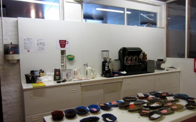 Muurfoto in koffiebedrijf