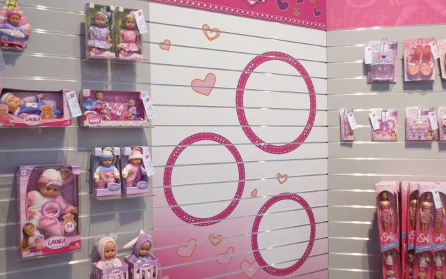 Muurfoto in speelgoedwinkel