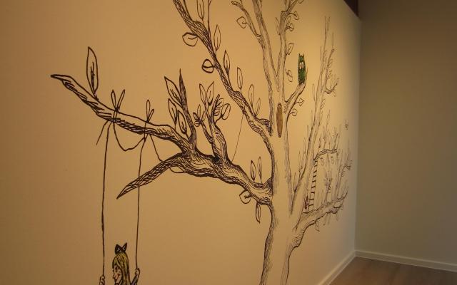 Zwart wit print illustratie bomen